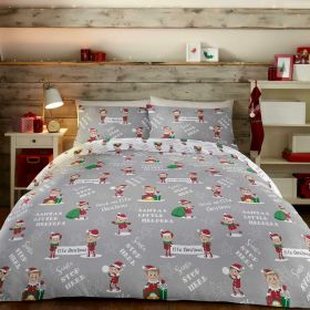 Bedlam Elfie Christmas Duvet Set Grey