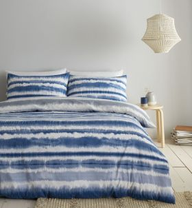 Catherine Lansfield Tie Dye Seersucker Duvet Set Blue